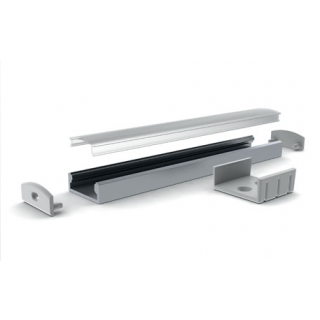 Profile aluminium Saillie 23x8mm 2m - Sans diffuseur